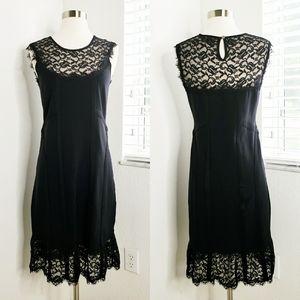 •NANETTE LEPORE• Lace Trim Knit Midi Dress M.